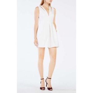BCBGMaxAzria Dresses - BCBG Maxazria Clayre 2 strap pleated white dress
